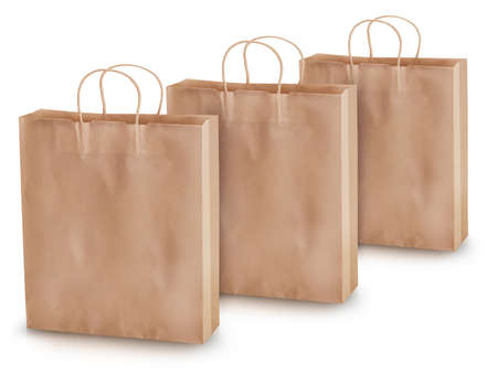 Empty paper shopping bags on a white background. Stock Photo - 13274915