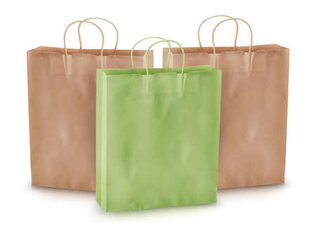 Empty paper shopping bags on a white background. photo