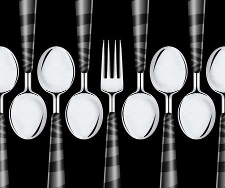 Fork and spoons isolated on black background  photo