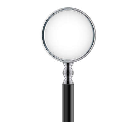 magnified: Magnifying glass isolated on white.