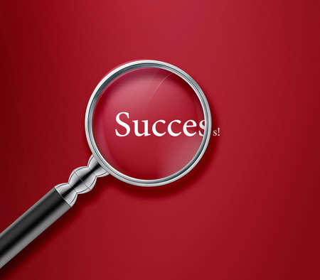 magnified: Magnifying glass with success word on red background .