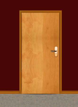 One apartment wooden door. photo