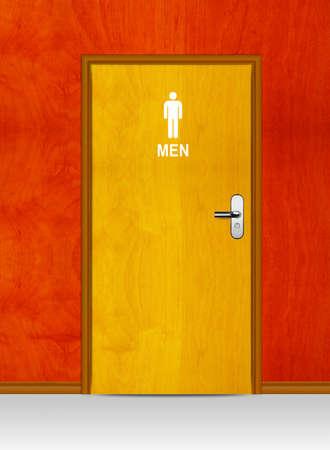 security door: Sign of public toilets WC on wooden door  Stock Photo