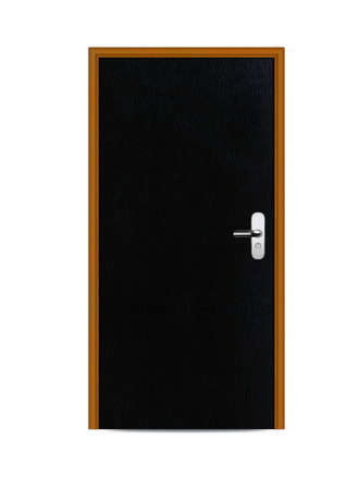 One black apartment wooden door. Stock Photo - 13299276