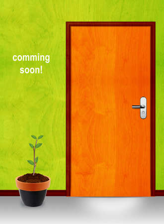 not open: coming soon conceptual image, closed door with coming soon mesage. Stock Photo