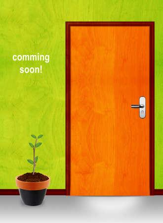 proximamente: viene de la imagen antes conceptual, cerr� la puerta con mesage pr�ximamente. Foto de archivo