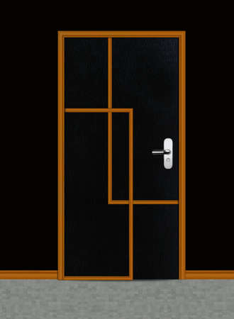 One black apartment wooden door. photo