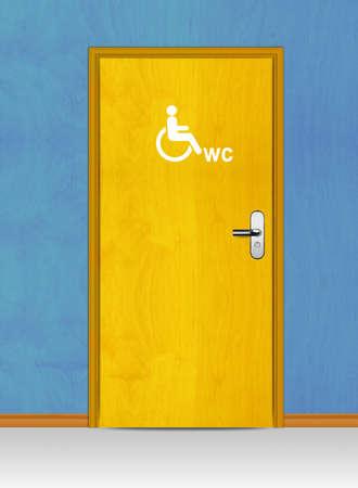 Sign of public toilets WC on wooden door Stock Photo - 13299297