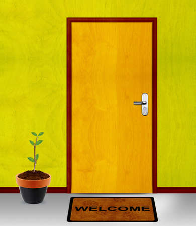 welcome door: coming soon conceptual image, closed door with coming soon mesage. Stock Photo