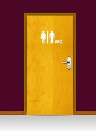 Sign of public toilets WC on wooden door photo