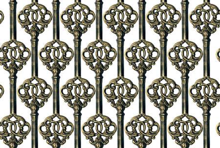 seamless golden Key Background on white Stock Photo - 13605196