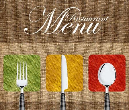 menu restaurant: Conception de la couverture le restaurant avec un couteau, une cuill�re et une fourchette.