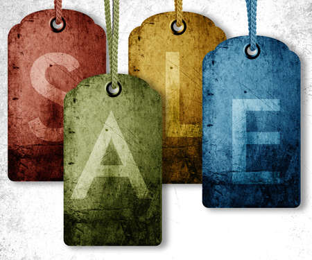 web shopping: grunge price tag background, sale conceptual image. Stock Photo