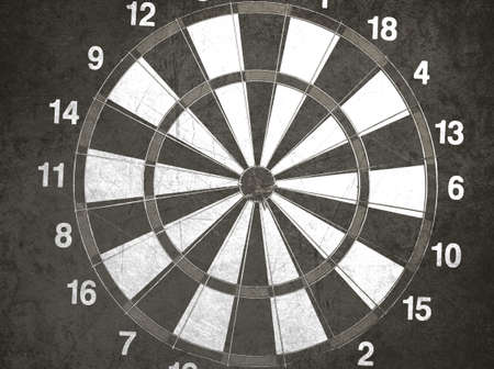 concept for hitting target, dart board with darts. photo