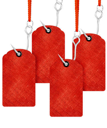 Red price tags with fishing hook isolated on white background. photo