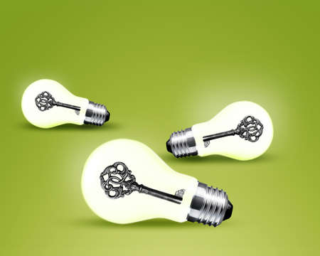 old key in light bulb, conceptual image for solutions. Stock Photo - 13605130