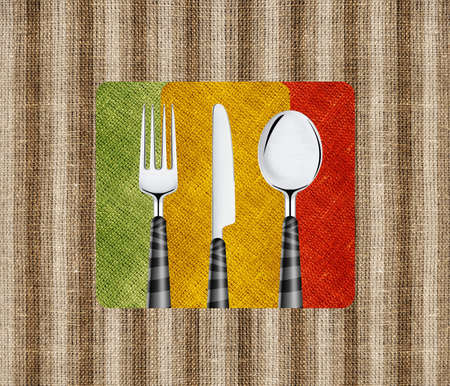 Restaurant menu cover design with knife, spoon and fork. photo