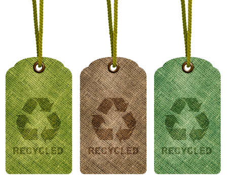 Eco recycle tag isolated on white background with path. photo