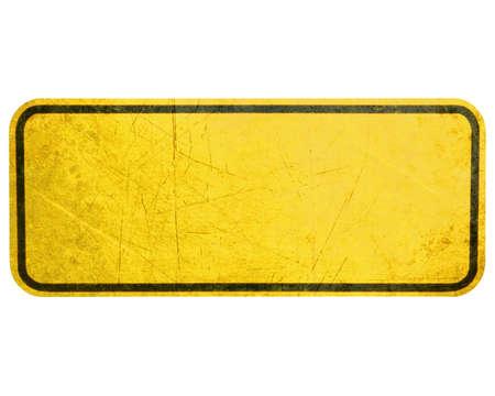 señales preventivas: Signo vacío Amarillo sesión, la atención y alerta Foto de archivo