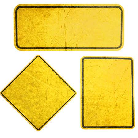 空の黄色の看板、注意、および警告サインします。