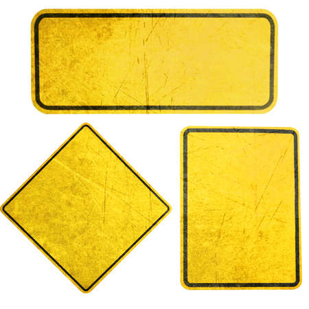 road marking: Empty Yellow Sign, attention and alert sign