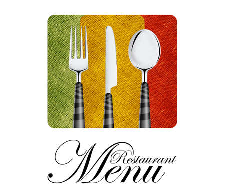 dinner menu: Restaurant menu cover design with knife, spoon and fork. Stock Photo
