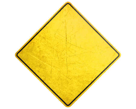 road marking: Empty Yellow Sign, attention and alert sign.
