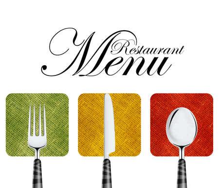 carta de postres: Menú del restaurante diseño de la cubierta con un cuchillo, cuchara y tenedor.
