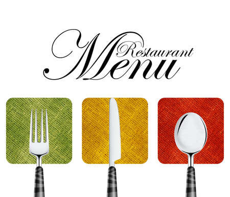 Restaurant menu cover design with knife, spoon and fork. Stock Photo