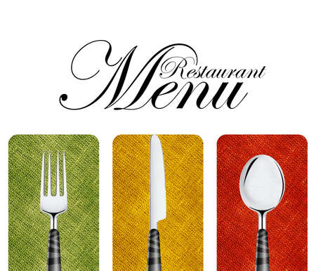 dishes: Restaurant menu cover design with knife, spoon and fork. Stock Photo
