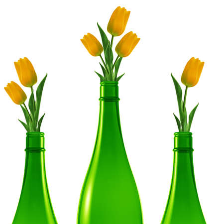 Tres botellas de vidrio verde con tulipanes amarillos. photo