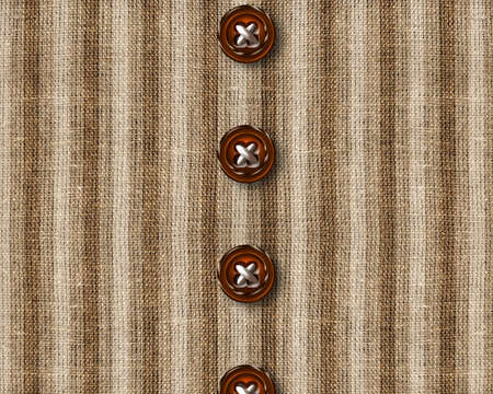 freigestellt: wooden Cloth buttons on brown shirt. Stock Photo