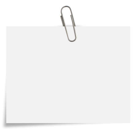 blank white Notepaper with paperclip on white background. photo