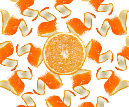 Peel and slice of an orange formed sun isolated on white background. photo