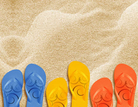 a pair of flip flops on the beach sand, Summer back concept. photo