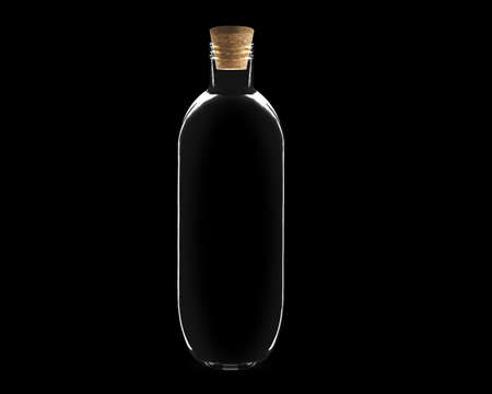 empty Glass bottle with cork on black background.