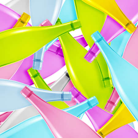 decore: Set of colored empty glass bottles background.