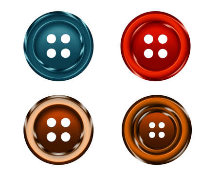 sewing buttons: four Cloth buttons isolated on white background. Stock Photo