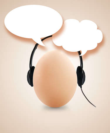 fresh egg with headset and speech bubble. photo