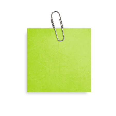 paperclip: Green Note paper with paper clip on white background.