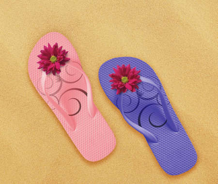 a pair of flip flops on the beach sand, Summer back concept. Stock Photo - 14006492