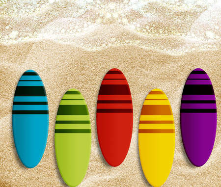 Set of different colors surf boards on the beach. photo