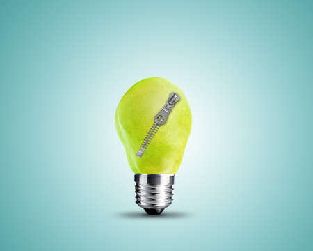 light bulb made from Green Pear with zipper, light bulb conceptual Image. photo