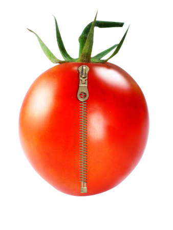 Frische Rote Tomaten mit Reißverschluss auf weißem Hintergrund Standard-Bild