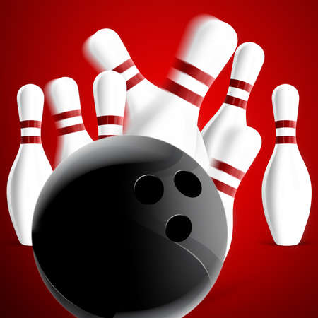 bowling: Bowling pins on red background Stock Photo