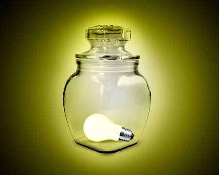 light bulb inside glass jar photo