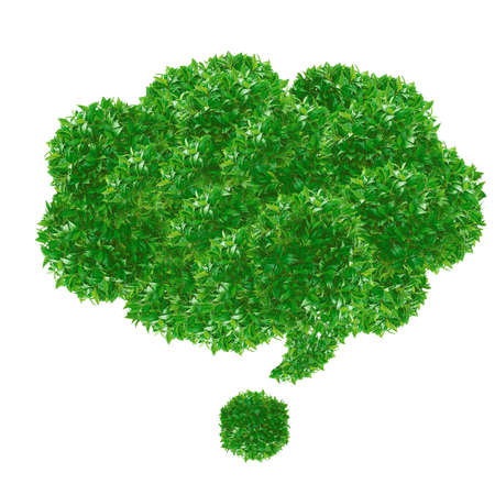 Green speech bubble made from grass isolated on white. photo