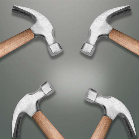 Four Hammers heads with copy space photo