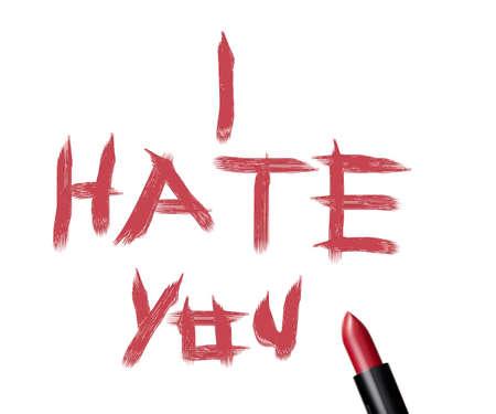 """cerca de un lápiz de labios y la inscripción """"Te odio"""" en el fondo blanco."""