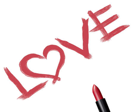 close up of a lipstick and inscription  love  on white background. photo